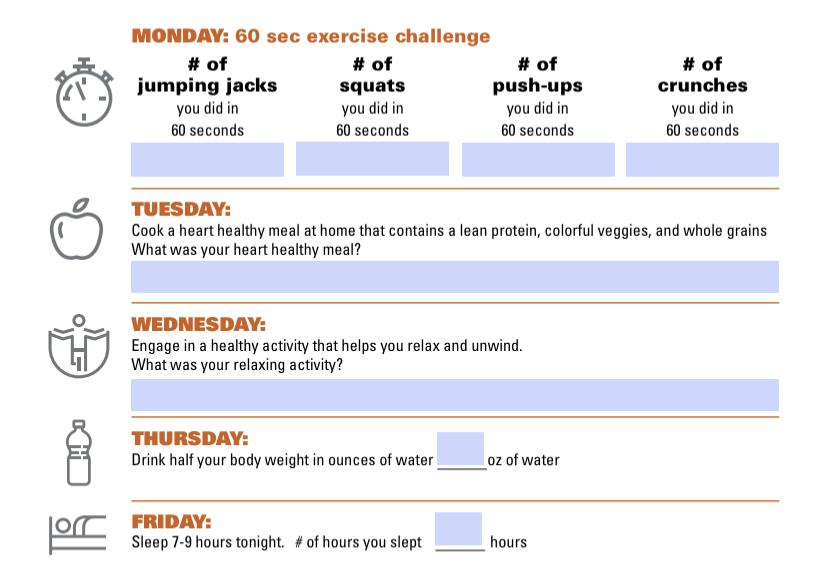 heart health activity list