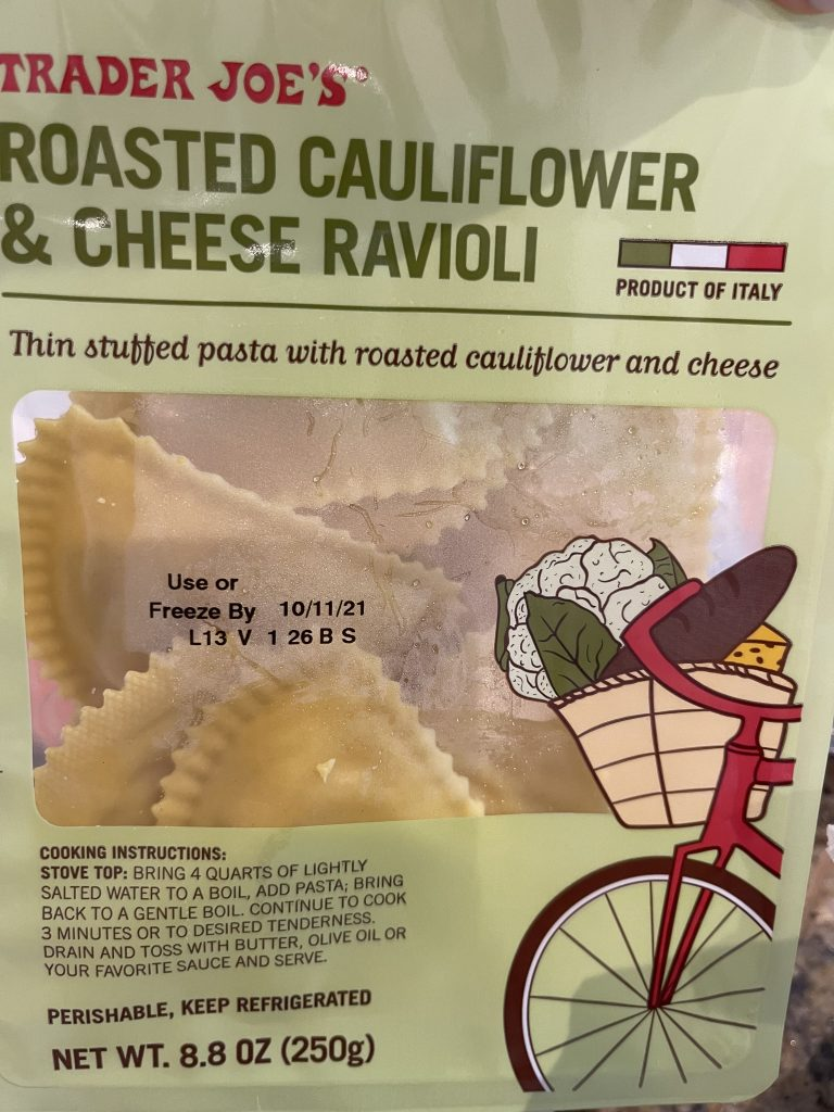 Trader Joe's roasted cauliflower cheese ravioli